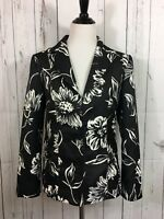 Chico's Lined Jacket Floral Black White Print Size M 8/10 (1) Satin