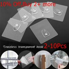 Anti-skid Hooks Reusable Transparent Traceless Wall Hanging Hooks 2-10pcs