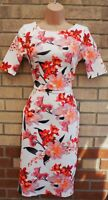 FLORENCE FRED WHITE PINK ORANGE FLORAL SHORT SLEEVE BODYCON PARTY DRESS 6 XS