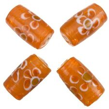 Fused Flower Transparent Orange Tube Glass Beads 20x10mm Pack of 4 (A79/3)
