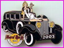 Hard Rock Cafe SAN FRANCISCO 2003 Black & White BALL PIN Hot Girl on Rolls Royce