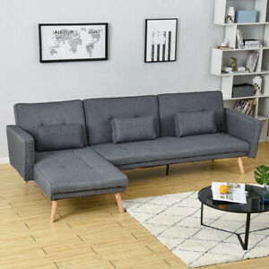 3 Seater L-Shape Fabric Corner Sofa Bed Couch Recliner Chaise with Footstool