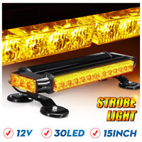 15 Inch 30W LED Warn Emergency Beacon Double Side Mini Strobe Light Bar Amber