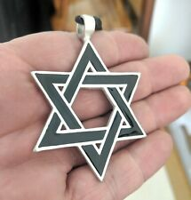 Large Jewish Star of David Israel Charm Silver Pewter Necklace Pendant Jewelry