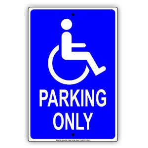 Handicap Disabled or Elderly Parking Only Hospital Office Aluminum Metal Sign