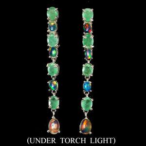 Oval Emerald 6x4mm Fire Opal 14K White Gold Plate 925 Sterling Silver Earrings
