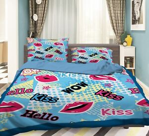 3D Doodle Kiss 575 Bed Pillowcases Quilt Duvet Cover Set Single King UK Summer