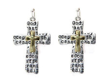 5030012 Serenity Prayer Cross Earrings Christian 12 Step AA One Day At A Time