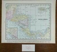 "Vintage 1900 CENTRAL AMERICA Map 14""x11"" ~ Old Antique Original GUATEMALA"