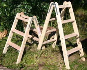 Doppelstufenleiter 2x 3-7 Stufen Holz Deko Holzleiter Stufenleiter Tritt Bock