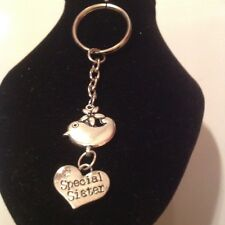 Special sister bird key ring silver plated
