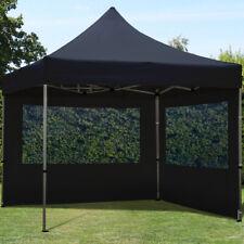 3x3m Faltpavillon Faltzelt ALU Pavillon Partyzelt mit 2 Seitenteilen, schwarz