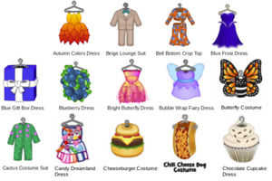Webkinz virtual online items DRESSES, PANTSUITS - Mystery, Promo, Deluxe, PSI