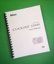 "LASER 8.5X11"" Nikon S5100 Camera 180 Page Owners Manual Guide"