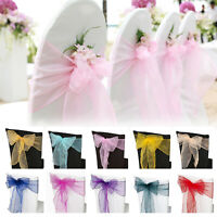 1pc Organza Sashes Chair Cover Bow Sash Wider Fuller Bows Wedding Party
