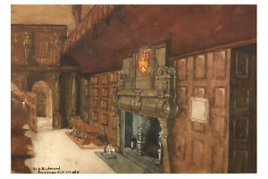 Watercolour of Pensioners Hall Chelsea Hospital by SIR WILLIAM BLAKE RICHMOND RA