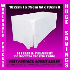 8 x Tablecloths Trestle Table Cloths 6ft FITTED Wedding White Rectangle 182cm L