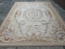 Vintage Hand Made French Design Wool Beige Grey Pink Original Aubusson 307X247cm