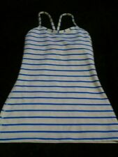 Lululemon  Power Y Tank Deauville Stripe Pipe Dream Blue White Sz 2 Yoga Sexy(D)