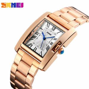 SKMEI Analog Damen Armbanduhr Uhr Römische Zahlen Vintage Rechteckig Silber Rose