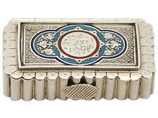Victorian Sterling Silver and Enamel Vesta Box 1886