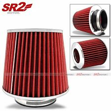 "Universal Air Filter 3.5"" Inlet Air Intake Chrome Opening Top Cone Red"
