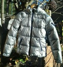 Ladies American Eagle Outfitters Silver Feather Down Puffer Jacket XS or UK 4/6