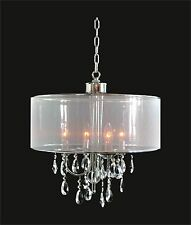 """New! CRYSTAL CHANDELIER with Shade (D18"""" x H18"""") 4-Light CHROME Ceiling Fixture"""