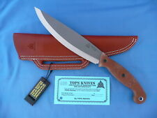TOPS Earth Skills Knife Tan Canvas Micarta 1095 Carbon Steel Leather Sheath USA