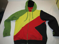 Oakley RASTA Hoodie Jacket Size XL Forged Goods Thumb Holes Color Block