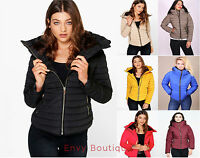 Ladies Womens Quilted Padded Puffer Bubble Fur Collar Warm Thick Jacket Coat