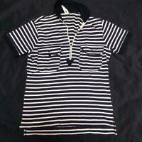 Nigel Cabourn Polo Shirt Tops Striped 100% Cotton Men's Size 44 Made In Japan