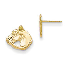 14K Yellow Gold Horse Head Stud Earrings Screw Backs Madi K Children's Jewelry