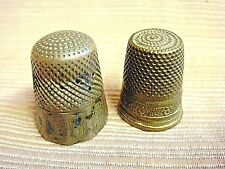 2 Antique Brass Thimbles - Decorated & Worn