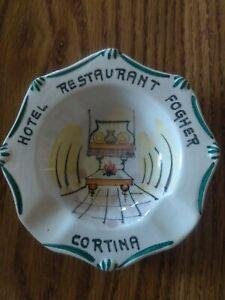 Fogher Cortina Hotel Restaurant Handpainted Ashtray LA LUCCIOLA Vicenza Italy
