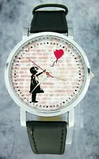 """""""Girl with balloon"""" Banksy painting design wristwatch. Black strap"""