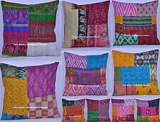 10 PC Wholesale Lot Indian Cushion Cover Silk Kantha Sofa Throw Pillow Case 16""