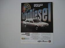advertising Pubblicità 1983 ALFA ROMEO GIULIETTA 2.0 TD