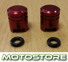 PAIR OF RED PISTON VALVE CAPS FITS SUZUKI GSX750F KATANA 1988-2002
