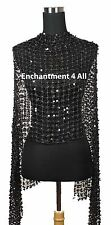 Sassy Oblong Crochet Net Stage Scarf Wrap Costume w/ Dazzling Sequins, Black
