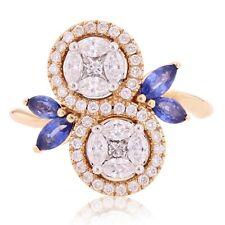 18k Rose Gold 1.20ctw Sapphire & Diamond Swirl Leaf & Vine Vintage Style Ring