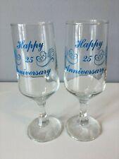 2 x 25th Anniversary Champagne Glasses