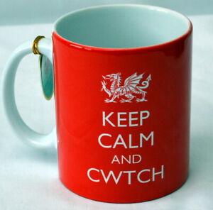 """KEEP CALM AND CWTCH"" red MUG with WELSH DRAGON , Wales, Cymru"