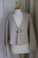 Krista Larson ~ Hand-Knit Greige Super Soft Chunk Cropped Pin Cardigan Sweater