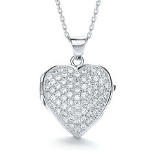 "J-Jaz Ladies Cubic Zirconia Heart Shape Locket on adjustable 16""-18"" chain"