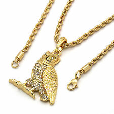 "Mens 14k Gold Cz Owl Clear Eyes Rap Pendant Hip-Hop 24"" Rope Necklace Chain"