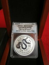 2013 Australia .999 silver Year Of The Snake Rev. Proof FDI ANACS MS70 DCAM pcgs