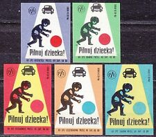 POLAND 1969 Matchbox Label - Cat.Z#930 set, Road safety - Watch your child! PZU