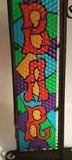 """Bar Sign 12"""" High with Black Metal Frame Man Cave Plastic Stained Design"""
