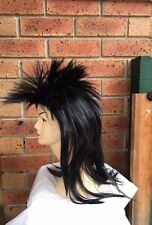 Brand New Men's 80s Black Spikey Punk Rock Mullet Wig Costume Accessory